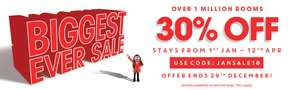 Travelodge offer stack: 30% off hotel stays between 1st Jan - 12th April + get a free £5 Amazon voucher with all stays