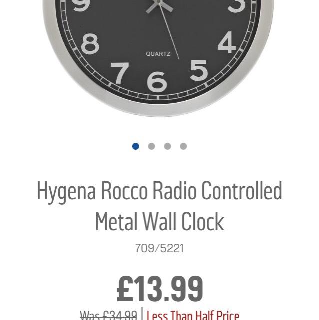 Hygena rocco radio controlled clock £13.99 Argos