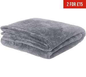 ColourMatch Supersoft Throw - 170x130cm - Flint Grey or Black (was £11.99) Now £3.49 at Argos