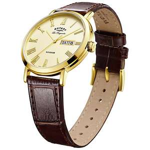 Rotary GS90156/09 Men's Les Originales Windsor Day Date Leather Strap Watch, Brown/Gold £77.50 - John Lewis