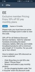20% of monthly contracts for veterans and serving soldiers at EE