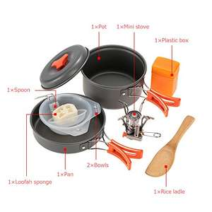 2 Person camping stove and cookware set @ £11.89 (Prime) £15.99 (Non Prime) sold by Tomshop, fulfilled by Amazon