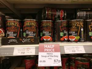 Heinz Soup of the Day (Tomato with hint of Chilli, etc) half price in Waitrose - 67p