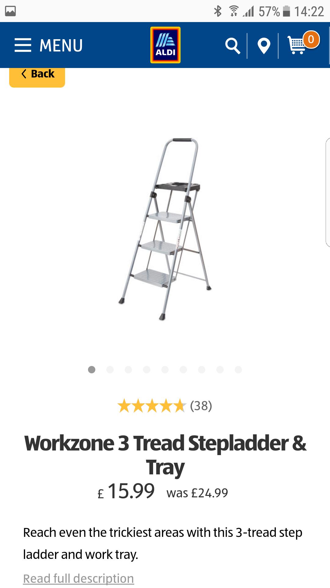 (38) Workzone 3 Tread Stepladder & Tray £15.99 @ Aldi