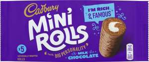 Cadbury Chocolate or Raspberry Mini Rolls 5 Pack Half Price was £1.50 now 75p @ Tesco
