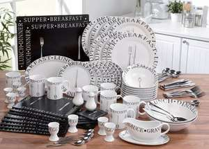 100-Piece Black/White Vintage Script Combination Dinner and Cutlery Set £59.99 / £64.89 delivered @ Studio