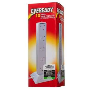 Eveready 10 socket surge protected extension tower £12.99 @ B&M