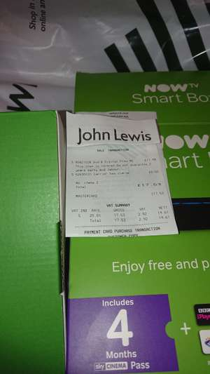 Nowtv smart box with 4 months sky cinema pass £17.48 John Lewis in store