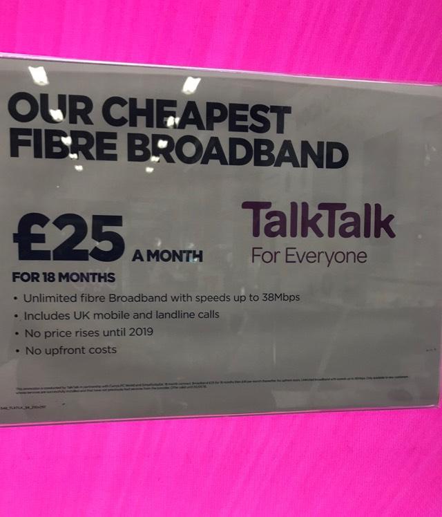 38Mbps Fibre broadband & calls with TalkTalk @ PC World/Currys/Carphone Warehouse