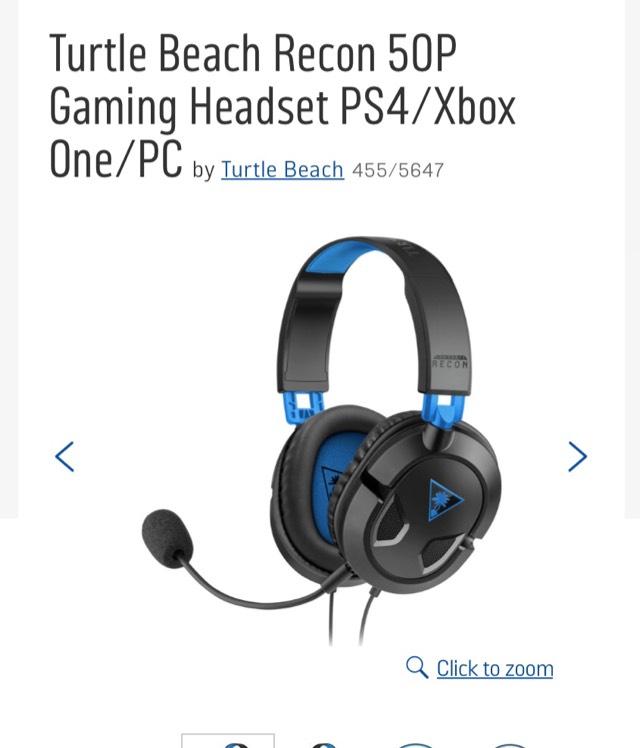 Turtle Beach Recon 50P Gaming Headset PS4/Xbox One/PC - £24.99 @ Argos