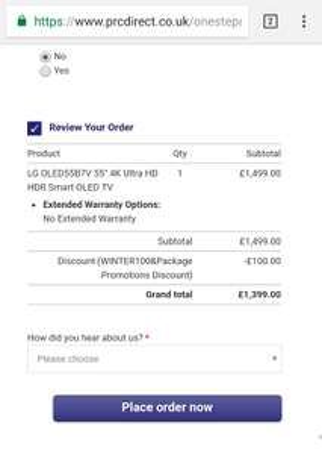 LG OLED Television 55B7V £1399 @ PRC Direct