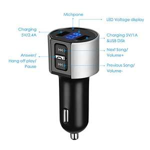 Criacr Bluetooth FM Transmitter, Wireless In-Car FM Radio Transmitter Adapter with Hands-free Calling, MP3 Player Car Kits with Dual USB Port Charger £8.24 (Prime) £12.23 (Non Prime) @ Sold by AMIR UK and Fulfilled by Amazon