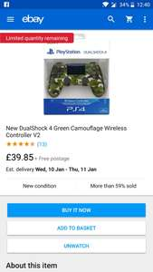 New PS4 DualShock 4 Green Camouflage Wireless Controller V2 for £39.85 @ Shopto eBay