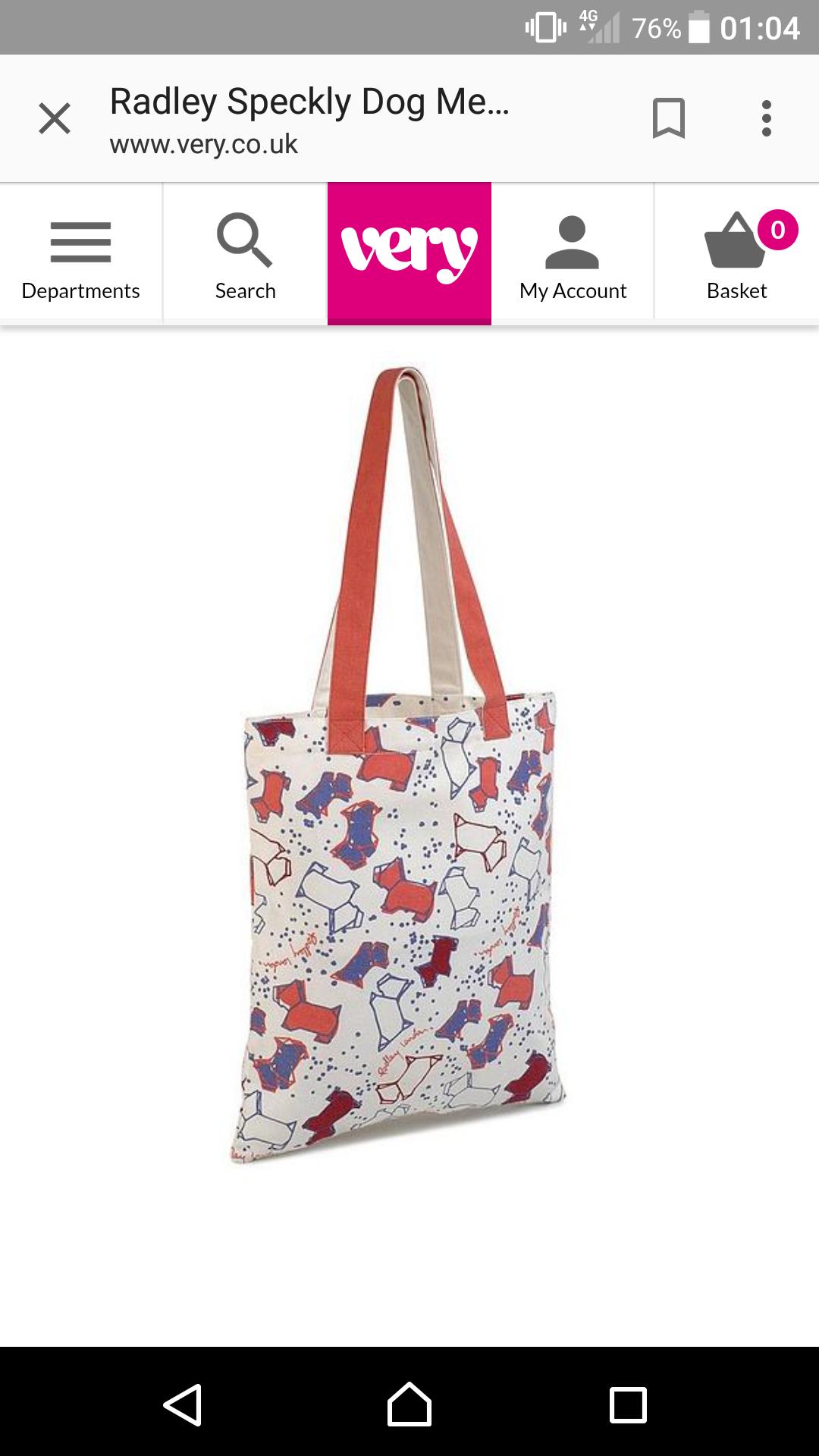 Radley speckley dog medium tote bag @ very - £10