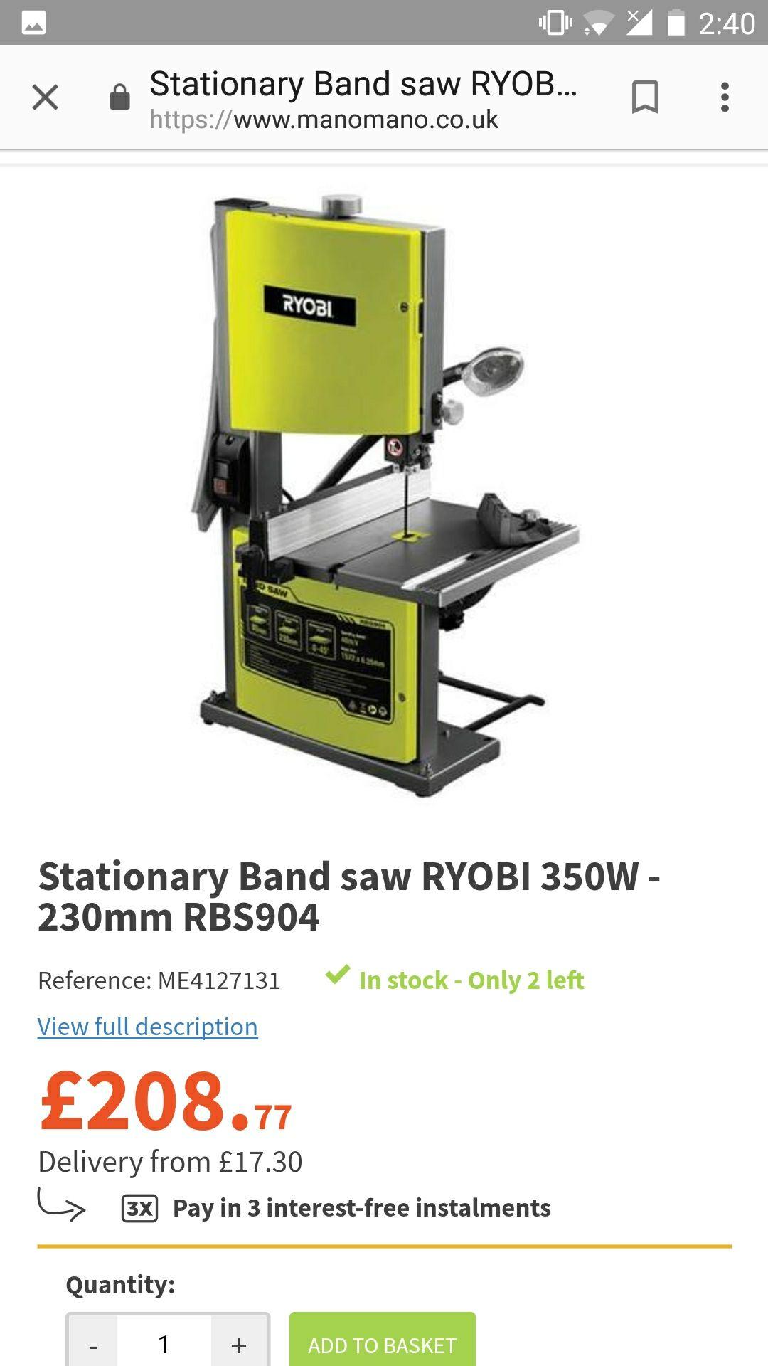 Bandsaw RYOBI 350W  230mm RBS904 (2 in stock) - £208.77 @ Manomano