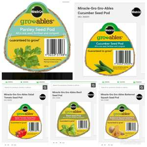 Miracle gro pods All varieties cucumber butternut squash 25p Homebase