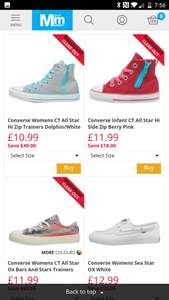 Adult converse (small sizes) starting from £8.99 + £4.49 Delivery @ M&M Direct