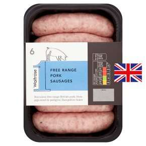 Waitrose 1 free range 6 pork sausages 400g (HALF PRICE) - £1.64
