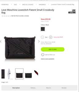 Love Moschino Lovestitch Patent Small Crossbody Bag - £95 @ house of fraser