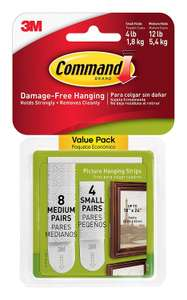 Command Picture Hanging Strips, 4 medium + 4 small, Amazon @ 3.49 Add on item