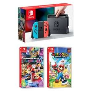 Nintendo Switch (Neon) with Mario Kart 8 Deluxe and Mario Rabbids Kingdom Battle - £288.79 @ XBite World eBay