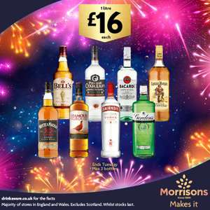 8 different one litre spirits £16 each at Morrisons
