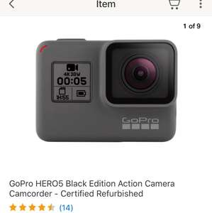 GoPro Hero 5 Black - Manufacturer Refurbished - 12 months warranty - WAS £259.99 now £207.99 with code! at Ebay GoPro