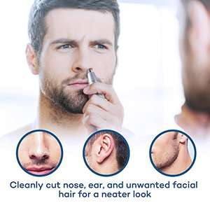Anjou Nose / Ear Hair Trimmer Battery Operated Stainless Steel Dual-Edge Blades Facial Hair Groomer ( Detachable Head and Washable Design ) - £6.99 Prime / £10.98 non prime using code @ Amazon / Sunvalleytek-UK