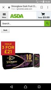 3 x 10 ( 440ml)  pack strongbow dark fruits @ asda for £21