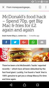Big Mac and fries for £1.99 ( get a receipt and fill in survey) at McDonalds