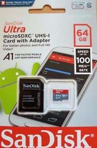 Sandisk Ultra 64GB Micro SD (Class 10) + Adapter; only £16.68 on eBay!