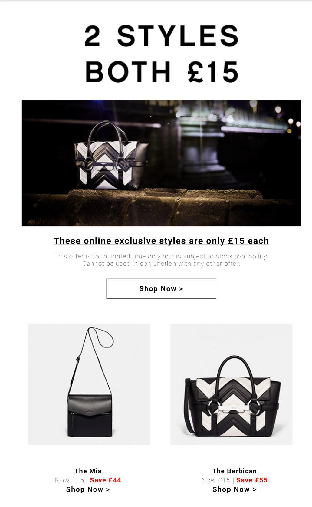 Fiorelli 2 styles - Mia crossbody and Barbican- handbags £18.95 delivered at Fiorelli