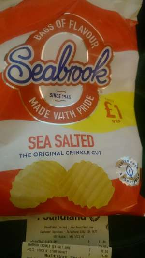 POUNDLAND Seabrook crinkle cut sea salt crisps 100g 50p