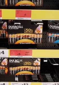 Half price Duracell AA 12pack £5 instore @ Sainsburys