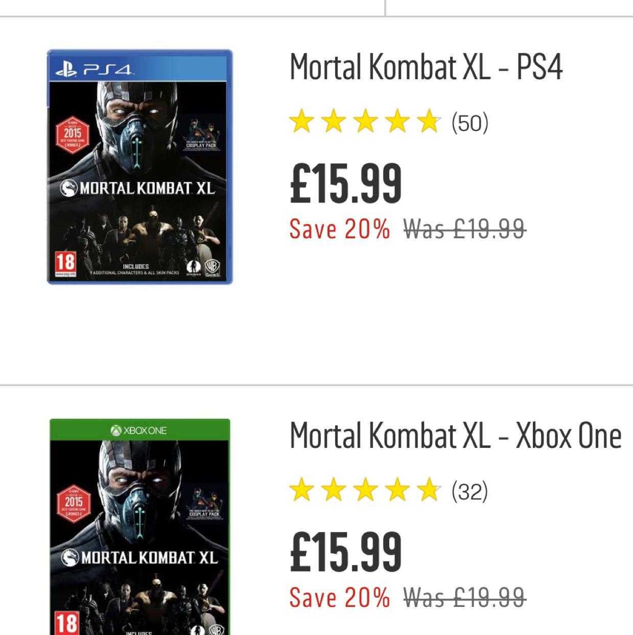 Mortal Kombat XL disc - PS4/XO £15.99 @ Argos