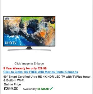 "Samsung UE40MU6120 40"" Ultra HD 4K TV £299 @ RGBDirect"