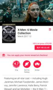 X-Men 6 movie collection (HD) £6.49 @ Google