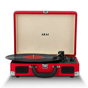 Akai A60011NR Bluetooth Rechargeable Vinyl Turntable Briefcase Style Featuring Bluetooth Connectivity (Red) - was £32.49 now £14.72 (Prime) £19.47 Non Prime @ Amazon