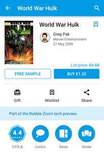 World war Hulk comic £1.52 on Google play store