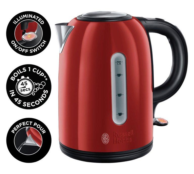 Russell Hobbs Westminster S/Steel Kettle - Red/Black/Cream + 3 Year Guarantee £17.99 @ Argos