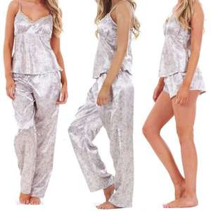 Satin Ladies 3 Piece Satin Pyjama Set Vest Lace Shorts and bottoms, from £6.99 delivered @ eBay myshoestore1, good feedback.