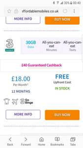 ADVANCED THREE SIM 30GB DATA. £25 QUIDCO ALSO - £18p/m (12 months = £176 total) @ Affordable Mobiles