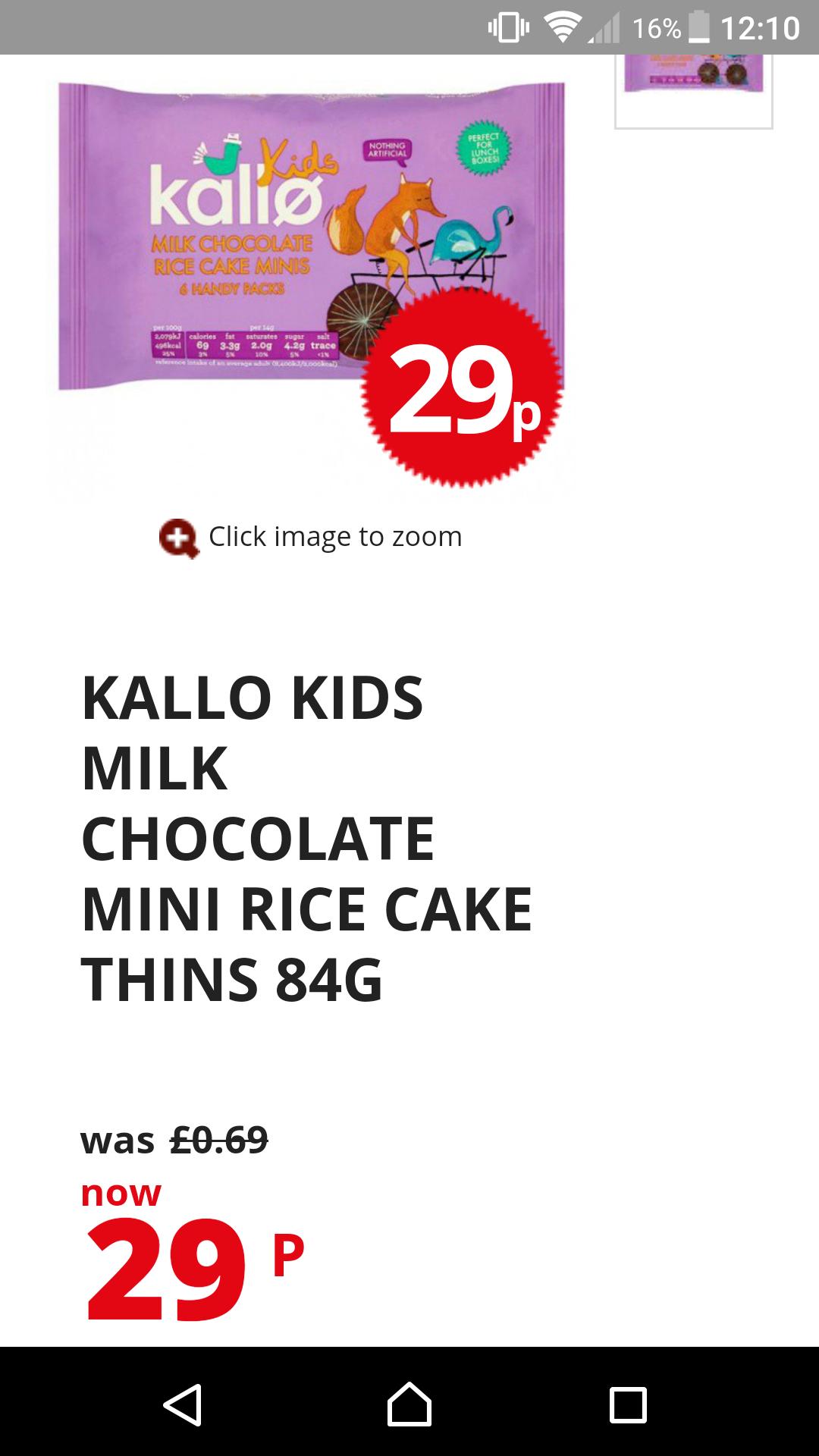Kallo kids milk chocolate mini rice cake thins 84g was 69p now 29p @ poundstretcher