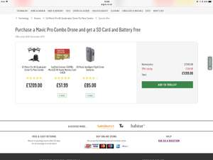 ARGOS :DJI Mavic Pro fly more combo inc free extra battery and extra 64gb micro so card - £1209 @ Argos