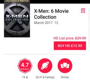 X-Men: 6 Movie Collection in HD on Google Play - £12.99