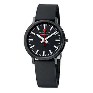 Mondaine Men's Quartz Watch with Black Dial Analogue Display and Black Rubber Strap A512.30358.64SPB