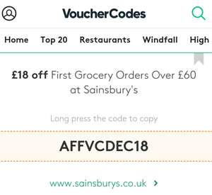 £18 off First Grocery orders @ Sainsbury (Spend £60 )