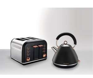 MORPHY RICHARDS Accents 102104 Traditional Kettle - Black & Rose Gold + Accents 242104 4-Slice Toaster - Black & Rose Gold at Currys for £68