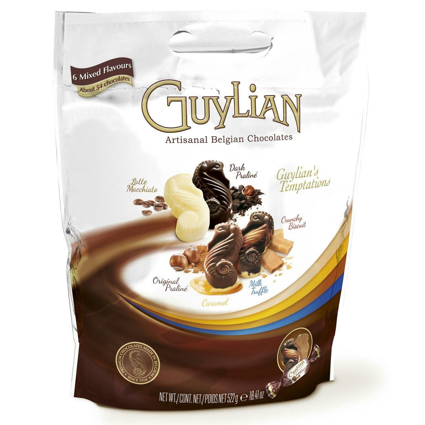 Guylian big pouch Belgian chocs 522g £2.50@ Tesco instore (possibly £1.80 in Sainsburys)
