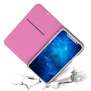 "iPhone X Case, iPhone 10 Case MaxiPRO®  Synthetic leather Flip Case,Ultra Slim light Case Cover [Supports Wireless Charging] for 5.8"" Apple iPhone X / iPhone 10 (2017 Release) (Pink) £1.99 Add On Sold by MaxiPRO ™ Europe and Fulfilled by Amazon."